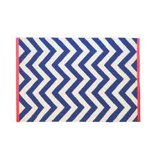 tribeca chevron rug cream and navy with c edge