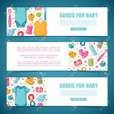 Baby Banners Template Set Horizontal Banners With Childhoods Patterns Newborn Staff