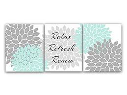 Modern bathroom art Mid Century Gray And Aqua Bathroom Décor Wall Art Relax Refresh Renew Modern Bathroom Art Wanelo Amazoncom Gray And Aqua Bathroom Décor Wall Art Relax Refresh