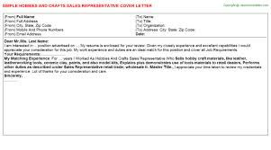 Hobbies And Crafts Sales Representative Cover Letter