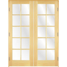 Shop ReliaBilt 10-Lite Pine Solid Core Clear Glass Wood French Door ...