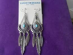 lucky brand nwt silver tone turquoise heritage feather chandelier earrings
