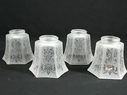 4 light shades frosted etched glass ceiling fan chandelier wall sconce