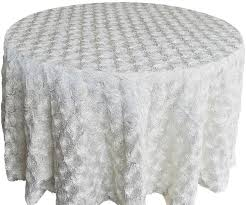 132 round satin rosette tablecloth ivory56602 1pc pk