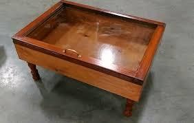 wood shadow box coffee table military by sandjbargainvault
