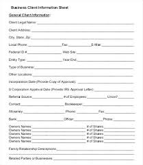 New Customer Information Template Sheet 3 Fact Contact Excel Form Inform