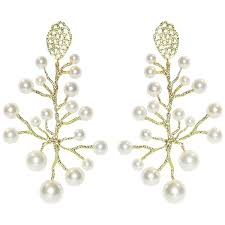 doria white freshwater pearls chandelier earrings in 18 karat yellow gold for