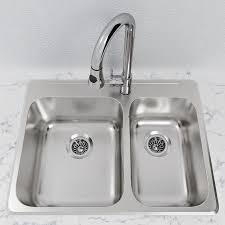 Cantrio Double Bowl 27 14 Stainless Steel Top Mount Kitchen Sink