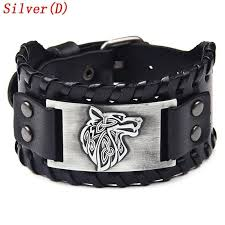 viking genuine leather bracelet punk nordic compass valknut wolf head leather wristbands for men jewelry accessories