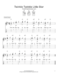 Guitar Tab Chart Pdf Twinkle Twinkle Little Star Tab Sheet Music