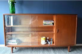 vintage danish stye teak bookcase display cabinet with sliding