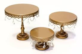 three levels gold wash cake stands with crystals small r175 medium r275 large r375