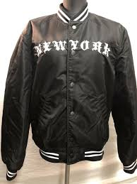 details about h m divided men s shout it out loud crew new york er jacket small
