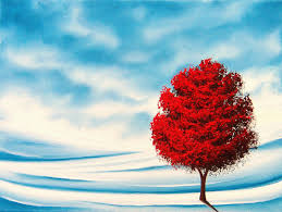 red tree art winter decor winter landscape painting 12 x 16 original oil painting