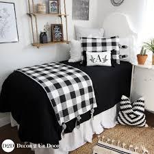black white gingham plaid banded cotton dorm twin xl sheet set