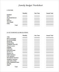 Monthly Family Budget Worksheet Sample Family Budget Worksheet 10 Examples In Word Pdf
