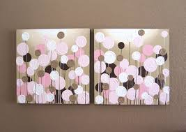 on canvas wall art pink flowers with pink and brown nursery art textured flowers set of two