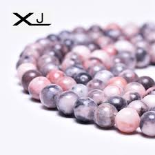 <b>XJ Natural</b> Pink Zebra <b>Stone</b> Round Spacer Beads 4 6 8 10MM Pick ...