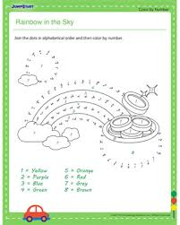 colors of the rainbow worksheet. rainbow in the sky - dot to worksheets for kids colors of worksheet t
