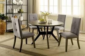 cm3354gy rt 5 pc abelone mid century modern style gray finish wood 48 round dining table set