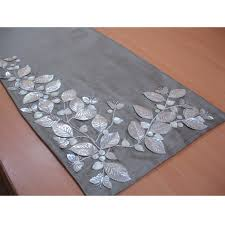 Fabulous Table Linen Floral Embroidery In Grey Silver Beaded Table Runner  Silver Comely Butterfly Mother Of Pearl Embroidered 14 X 64 Elegant Table  Linen ...