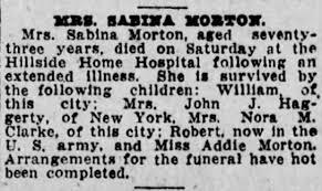 Mrs. Sabina Morton (nee Hough), 73, died on Oct. 5, 1918, in Hillside Home  Hospital, Scranton, Pa - Newspapers.com