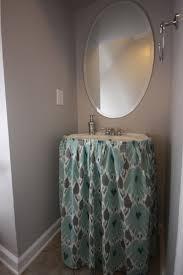 mini bathroom redo sink skirt reveal