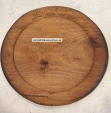worn antique primitive early wooden wood round cutting bread plate cutting board