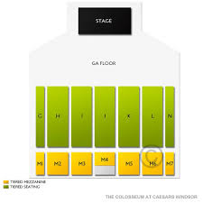 Colosseum Casino Windsor Seating Chart The Colosseum At Caesars Windsor 2019 Seating Chart