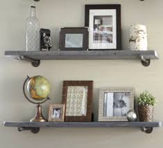 pipe interesting design industrial wall shelves 7 25 depth gray wash floating