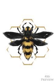 Abeille Geometric Bee Artprint Honey Bumblebee Decor Hexagon