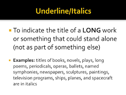 titles  any work long enough to be published alone is put in  3  to indicate the title