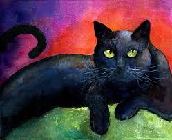 black cat painting vibrant black cat watercolor painting by svetlana novikova