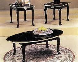 3 PIECE BLACK FINISH COFFEE TABLE SET QUEEN ANNE   Click Image Twice For  More Info