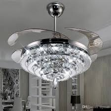 2019 led crystal chandelier fan lights invisible fan crystal lights living room bedroom restaurant modern ceiling fan 42 inch with remote control from