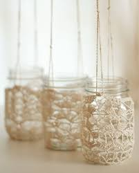 Jam Jar Decorating Ideas Crochet Lace Jam Jars For Hanging Lanterns W O R D S 66