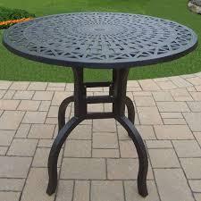 oakland living hampton aluminum round patio bar height dining table