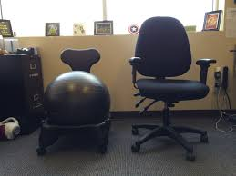 image of office chair battle gaiam balanceball chair vs regular desk with exercise ball chair