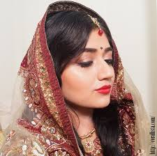 a red lip indian bridal look with mac ruby woo lipstick