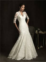 a line v neck sheer back ivory lace wedding dress with sleeves