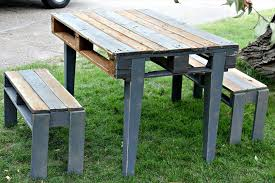 repurposed pallet table with two benches