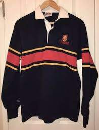 vintage barbarian queens university striped long sleeve rugby striped size m