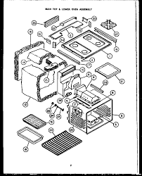 rsd30 gas ranges main top lower oven assembly parts diagram