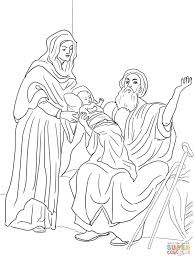 Baby Jesus In Temple Coloring Page