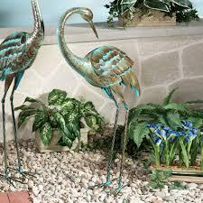 garden cranes. Crane Sculpture With Head Down Teal Garden Cranes