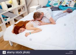 Lovely Couple In Bed Lying In Bedroom Passionate Couple Bed Stock Photos Passionate Couple Bed Stock