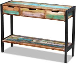 vidaXL Sideboard 3 Drawers <b>Solid Reclaimed</b> Wood Console Table ...