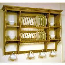 pine wall mounted plate rack kitchen