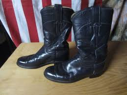 details about womens 5 b justin navy blue leather l3057 cowboy boots ropers used good vtg usa