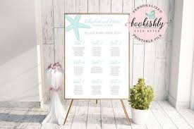 Beach Wedding Seating Chart Starfish Seating Chart Beach Wedding Seating Chart Aqua Starfish Seat By Table Number Printable Pdf File We Personalize You Print